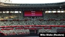 Pemandangan umum di dalam stadion sebelum upacara pembukaan Olimpiade Jepang. (Foto: REUTERS/Mike Blake)