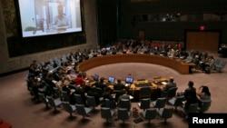 FILE - U.N. Security Council meeting.