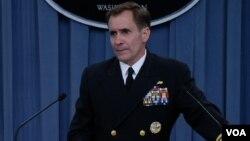 Juru bicara Departemen Pertahanan Amerika Laksamana Muda John Kirby menjelaskan situasi pengungsi di Irak utara (foto: dok).