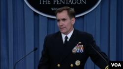 FILE - Pentagon spokesman Rear Admiral John Kirby gives a news briefing at the Pentagon, June 13, 2014.