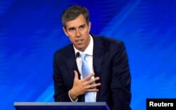 FILE - Former Rep. Beto O'Rourke delivers his closing statement at the end of the 2020 Democratic U.S. presidential debate in Houston, Sept. 12, 2019.