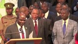 Rais Uhuru alipotangazwa mshindi wa urais nchini Kenya hivi leo.