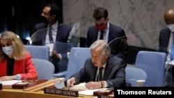 Umunyamabanga mukuru wa ONU, Antonio Guterres ashikiriza ijambo mu nama ya ONU ijejwe amahoro n'umutekano
