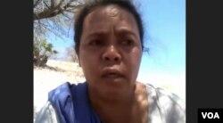 Salah seorang perempuan adat Pubabu, Marteda Ester, saat memberikan kesaksian tentang kekerasan yang dialaminya. Kamis 13 Agustus 2020. (Anugrah Andriansyah)
