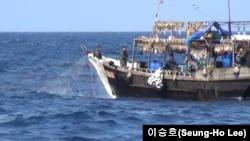 러시아 베타적경제수역(EEZ)에서 조업 중인 20m 길이의 소형 북한 어선. 5~20개 정도의 집어등을 켜고 밤에 오징어를 잡는다. 낮에는 유망을 사용하고 냉장시설이 부족한 듯 잡은 오징어는 갑판에서 바로 말린다. 사진제공=이승호(Seung-Ho Lee)