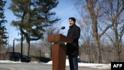 Canadian Prime Minister Justin Trudeau speaks during a news conference on COVID-19 situation in Canada from his residence in Ottawa, March 16, 2020.