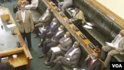 Members of parliament voting in Harare on May 04, 2021, to allow President Emmerson Mnangagwa to had pick his two vice presidents and to hand pick court judges (VOA/Columbus Mavhunga)