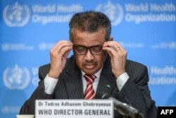 World Health Organization (WHO) Director-General Tedros Adhanom Ghebreyesus attends a daily press briefing on COVID-19 virus at the WHO headquarters, March 11, 2020, in Geneva.