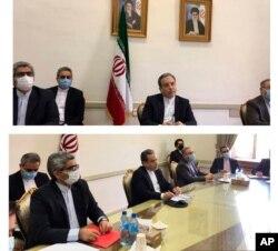 تصاویری که آسوشیتدپرس از طریق وزارت خارجه ایران تهیه کرده و حضور طرف ایرانی در نشست مجازی روز جمعه ۱۳ فروردین را نشان می دهد