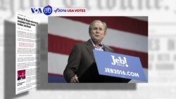 VOA60 Elections - Former President George W. Bush supports his brother Jeb Bush's presidential campaign