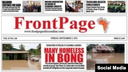 The top portion of an online edition of FrontPage Africa is seen in a screenshot taken from the paper's Facebook page.
