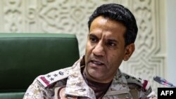 Spokesman of the Saudi-led military coalition in Yemen Colonel Turki al-Maliki speaks during a press conference in the capital Riyadh on March 22, 2021.