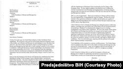 USA -- A letter from US secretary of the State Antony Blinken to members of tripartite Bosnian Presideny Milorad Dodik, Zeljko Komsic and Sefik Dzaferovic, March 31, 2021.