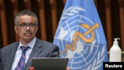 World Health Organization (WHO) Director-General Tedros Adhanom Ghebreyesus attends a news conference organized by Geneva Association of United Nations Correspondents (ACANU) amid the COVID-19 outbreak, caused by the novel coronavirus.