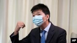 王靖渝在烏克蘭一處安全屋接受媒體採訪。(2021年6月30日)