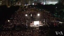 香港18万人参加六四烛光晚会