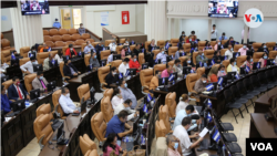Diputados sesionan en la Asamblea Nacional de Nicaragua el miércoles 28 de julio de 2021. Foto Houston Castillo, VOA.