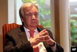 FILE - U.N. Secretary General Antonio Guterres speaks to The Associated Press, in Lahore, Pakistan, Feb. 18, 2020.