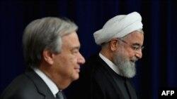 Tổng thống Iran Hassan Rouhani trong cuộc gặp với Tổng thư ký Liên Hợp Quốc Antonio Guterres tại New York năm 2019.
