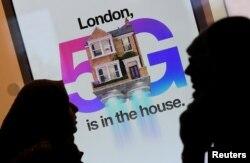지난 1월 영국 런던 거리에 화웨이 5G 이동통신망 광고 포스터가 걸려있다.