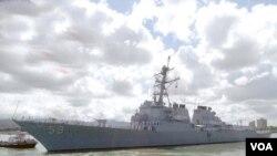 미 해군의 유도미사일 구축함 러셀 호.