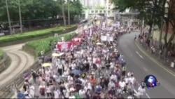 """香港市民举行年度""""七一""""大游行"""
