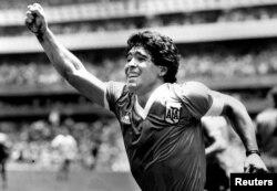 1986년 월드컵에서 득점한 뒤 환호하는 디에고 마라도나 선수