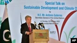 អគ្គលេខាធិការអង្គការសហប្រជាជាតិ លោក António Guterres ថ្លែងនៅក្នុងព្រឹត្តិការណ៍ស្តីពីការអភិវឌ្ឍប្រកបដោយចិរភាព និងបម្រែបម្រួលអាកាសធាតុ នៅក្នុងក្រុង Islamabad ប្រទេសប៉ាគីស្ថាន កាលពីថ្ងៃទី១៦ ខែកុម្ភៈ ឆ្នាំ២០២០។