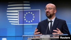 FILE - European Council President Charles Michel speaks at a news conference in Brussels, Belgium, Feb. 21, 2020.