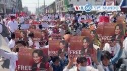 Manchetes mundo 22 Fevereiro: Mianmar - Manifestantes voltaram às ruas desafiando a ameaça da Junta do uso de força letal