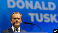 Mantan presiden Dewan Eropa Donald Tusk berbicara di kongres Partai Rakyat Eropa di Zagreb, Kroasia, 20 November 2019.