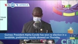 VOA60 Afrikaa - Guinea President Alpha Conde has won re-election in a landslide, preliminary results showed