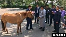 El ministro de Defensa de Mongolia, Nyamaa Enkhbold, (derecha) obsequia un caballo al secretario de Defensa de EE.UU., Mark Esper, en Ulán Bator, Mongolia, el jueves, 8 de agosto de 2019.