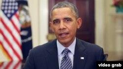 奧巴馬總統發表每周例行講話。