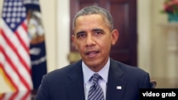 美國總統奧巴馬星期六在每週例行講話.