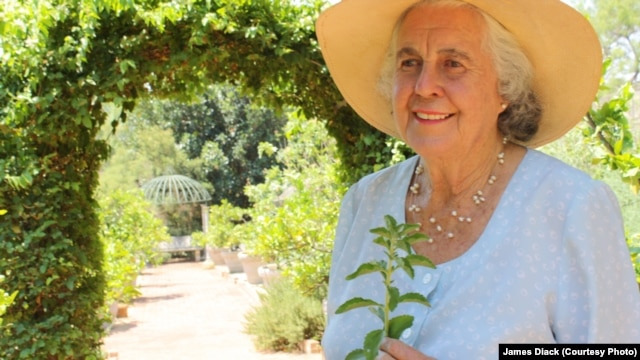 Margaret Roberts, one of South Africa's first truly organic food producers, in a garden on her farm in the country's North West Province
