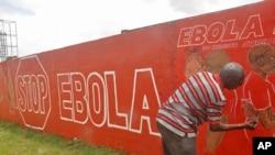 利比里亞一名本土藝術家在蒙羅維亞的壁上塗上壁畫,表達一堆伊波拉病毒是教育的一部分。