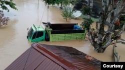 Kondisi banjir yang menggenangi di Kabupaten Nabire, Papua, Selasa (14/9). (Courtesy: BPBD Kabupaten Nabire)