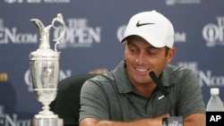 Francesco Molinari of Italy speaks during a press conference after winning the British Open Golf Championship in Carnoustie, Scotland, July 22, 2018.