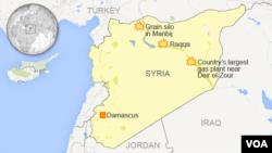 نقشه مناطقی از شمال سوریه که مواضع دولت اسلامی در آنها در روزهای یکشنبه و دوشنبه هدف حملات هوایی نیروهای ائتلاف قرار گرفت.