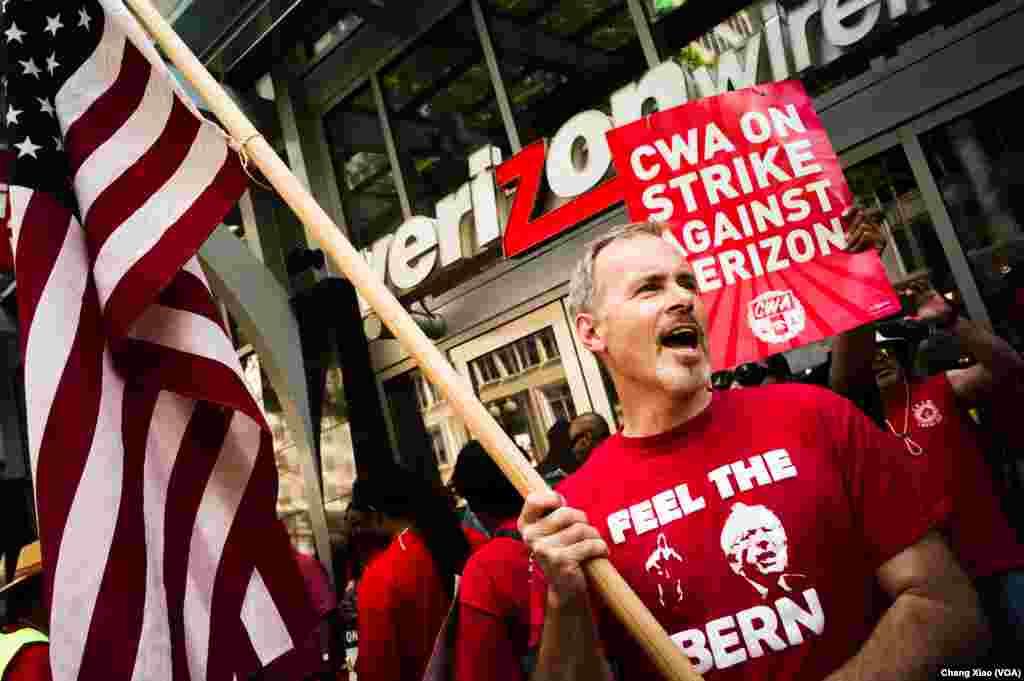 威讯公司(Verizon)员工在首都华盛顿街头举行示威罢工