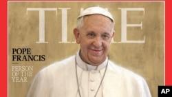 时代周刊教宗方济各的封面照。
