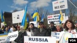 Amerikanci ukrajinskog porekla iz raznih američkih gradova održali su proteste u Vašingtonu zbog ruskog upada na Krim.