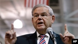 FILE - Sen. Robert Menendez, D-N.J., shown speaking in Garwood, N.J., last month, has said repeatedly that he is not guilty of corruption and has indicted no plans to resign from the Senate.