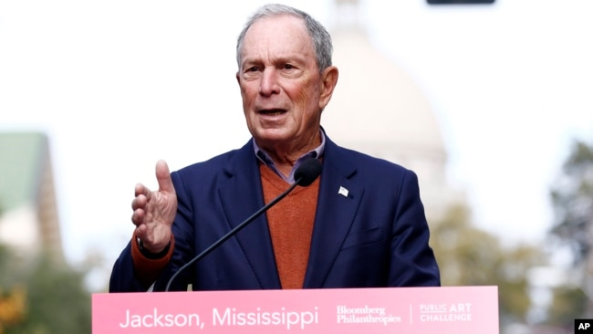Former mayor of New York City Michael Bloomberg speaks to the media in Jackson, Miss., Nov. 29, 2018. Bloomberg's philanthropy has announced a $50 million donation to help fight the nation's opioid epidemic.