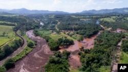 Vista aérea de Brumadinho depois de rebentamento de barragem, a 25 de janeiro, 2019