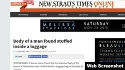 Tờ New Straits Times đưa tin về vụ một người Việt bị giết hại ở Malaysia.