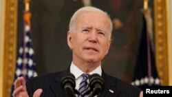 El presidente de EE. UU., Joe Biden, durante una conferencia en la Casa Blanca el 6 de abril de 2021.