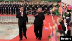 Ông Kim Jong Un trong chuyến thăm Trung Quốc đầu năm nay.