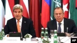 John Kerry,et Sergeï Lavrov à Vienne, le 14 novembre 2015.